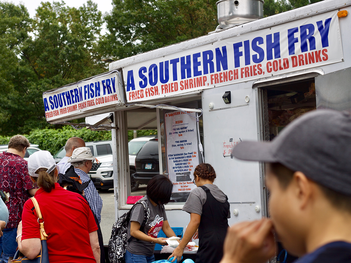 A Southern Fish Fry food truck in the SterlingFest food pavilion
