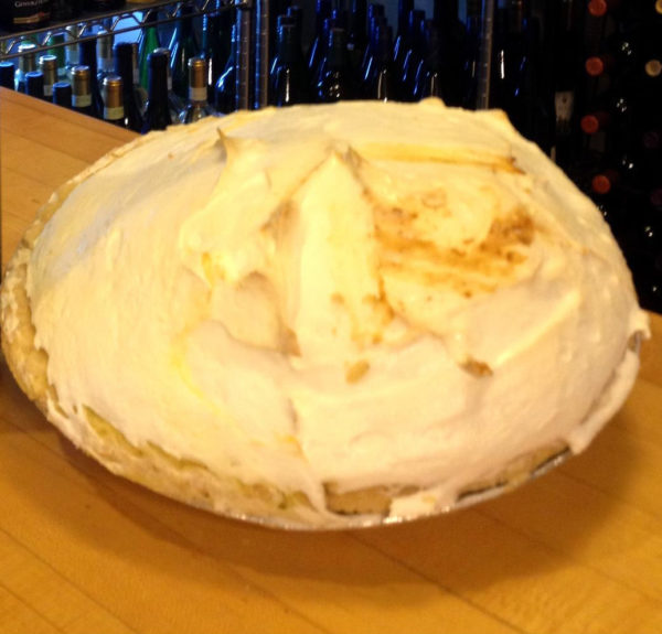 A lemon meringue pie